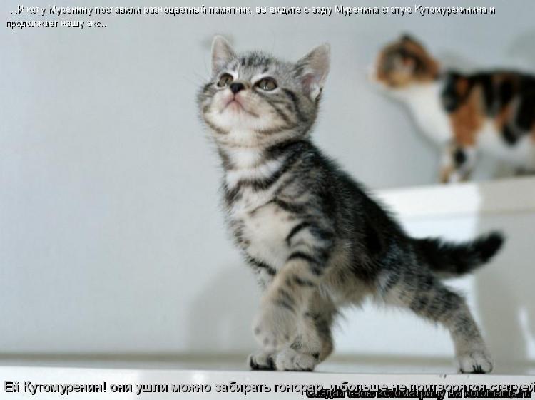 Котоматрица: ...И коту Муренину поставили разноцветный памятник, вы видите с-заду Муренина статую Кутомурекинина и  продолжает нашу экс... Ей Кутомуренин!