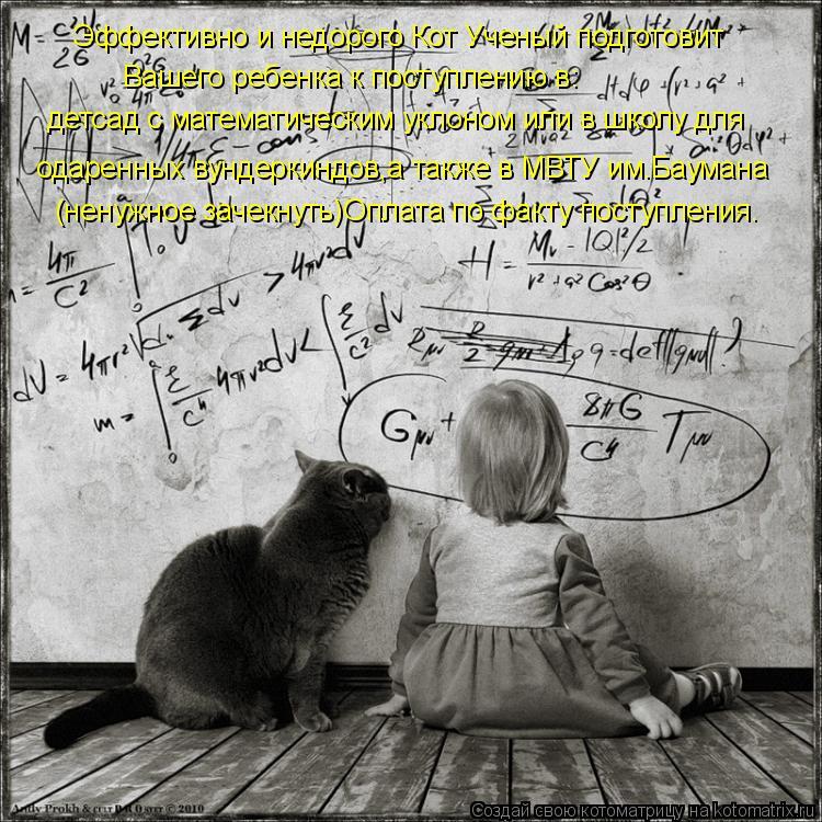 Котоматрица: Эффективно и недорого Кот Ученый подготовит Вашего ребенка к поступлению в: детсад с математическим уклоном или в школу для  одаренных вун