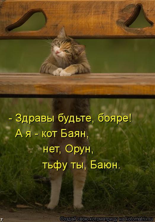 - Здравы будьте, бояре! А я - кот Баян,  нет, Орун,  тьфу ты, Баюн.