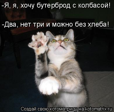 Котоматрица: -Я, я, хочу бутерброд с колбасой!  -Два, нет три и можно без хлеба!