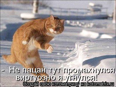 Котоматрица: -  Не пацан тут промахнулся, виртуозно я угнулся!