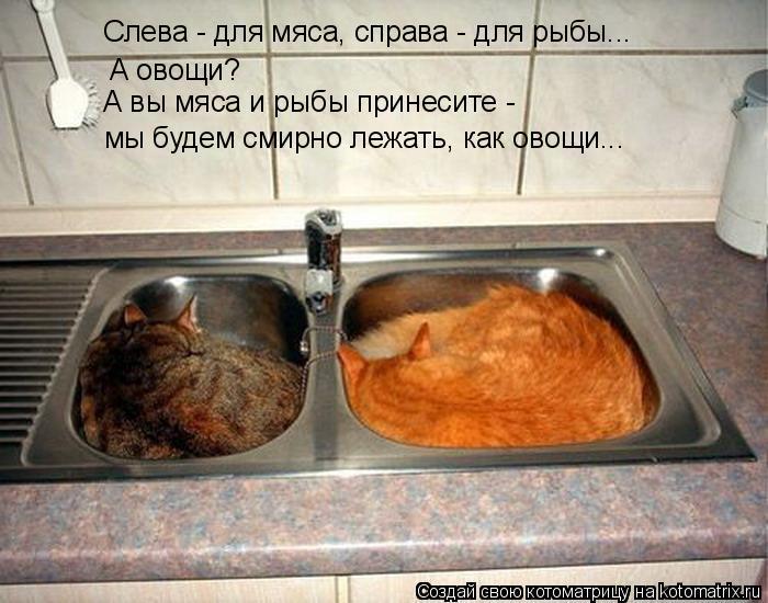Слева - для мяса, справа - для рыбы... А овощи? А вы мяса и рыбы прине