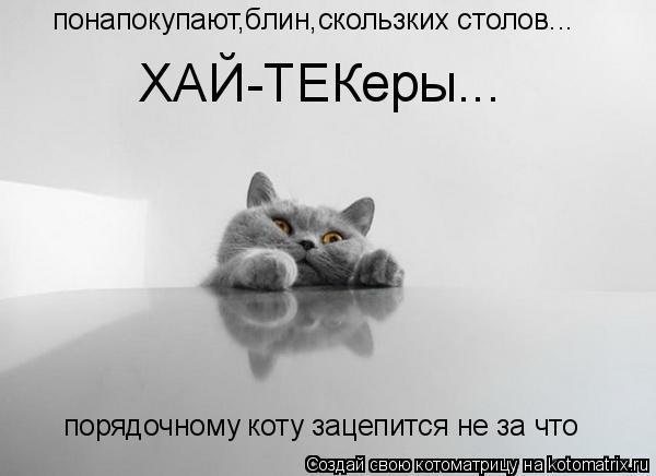 Котоматрица: понапокупают,блин,скользких столов... порядочному коту зацепится не за что  ХАЙ-ТЕКеры...