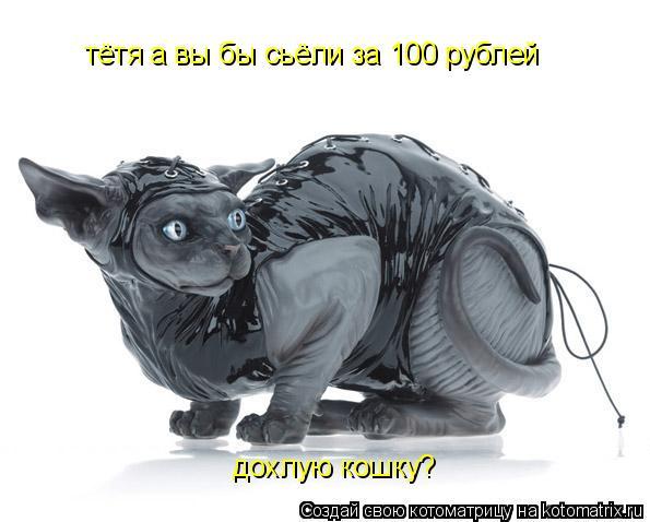 Котоматрица: тётя а вы бы сьёли за 100 рублей дохлую кошку?
