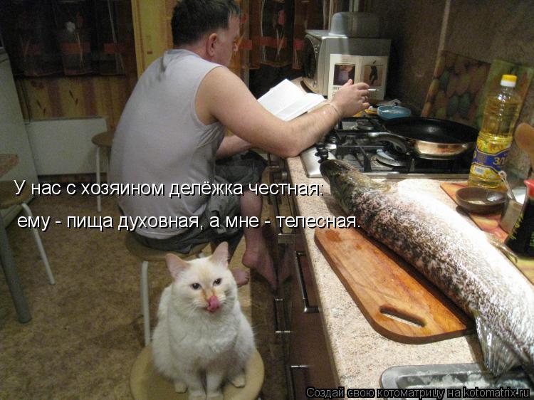 Котоматрица: У нас с хозяином делёжка честная: ему - пища духовная, а мне - телесная.