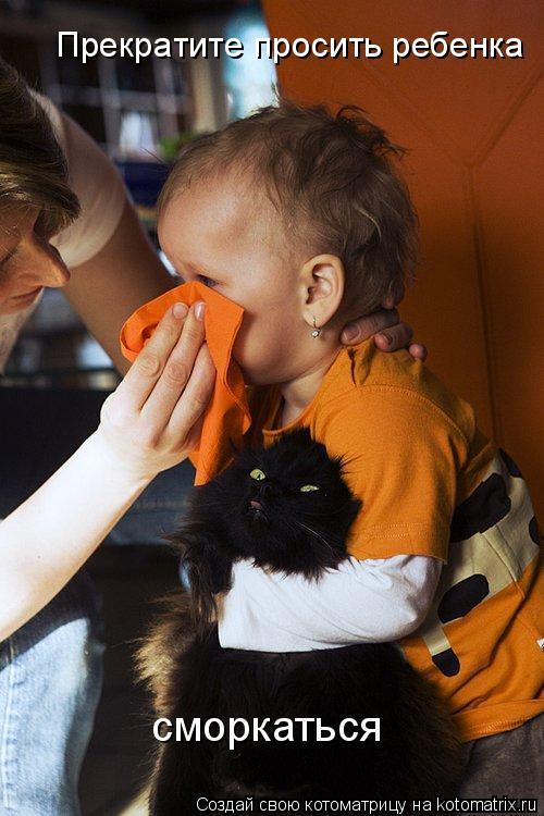 Котоматрица: Прекратите просить ребенка сморкаться