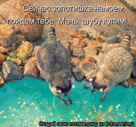 Котоматрица: Сейчас золотишка намоем,   пойдём тебе, Мань, шубу купим!