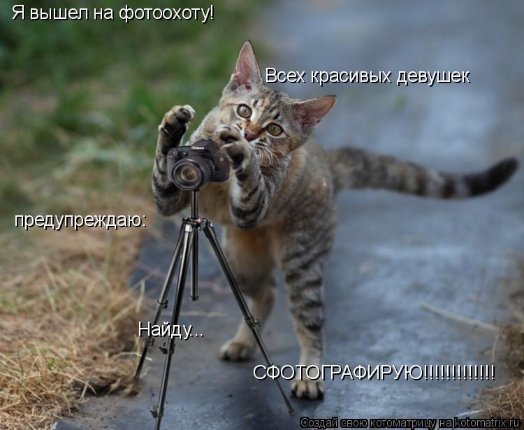 Котоматрица: Я вышел на фотоохоту! Всех красивых девушек предупреждаю: Найду... СФОТОГРАФИРУЮ!!!!!!!!!!!!!