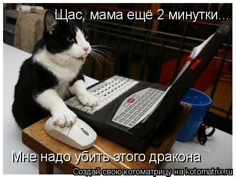 Котоматрица: Щас, мама ещё 2 минутки... Мне надо убить этого дракона