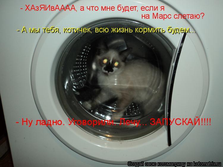 Котоматрица: - ХАзЯИвАААА, а что мне будет, если я на Марс слетаю? - А мы тебя, котичек, всю жизнь кормить будем... - Ну ладно. Уговорили. Лечу... ЗАПУСКАЙ!!!!
