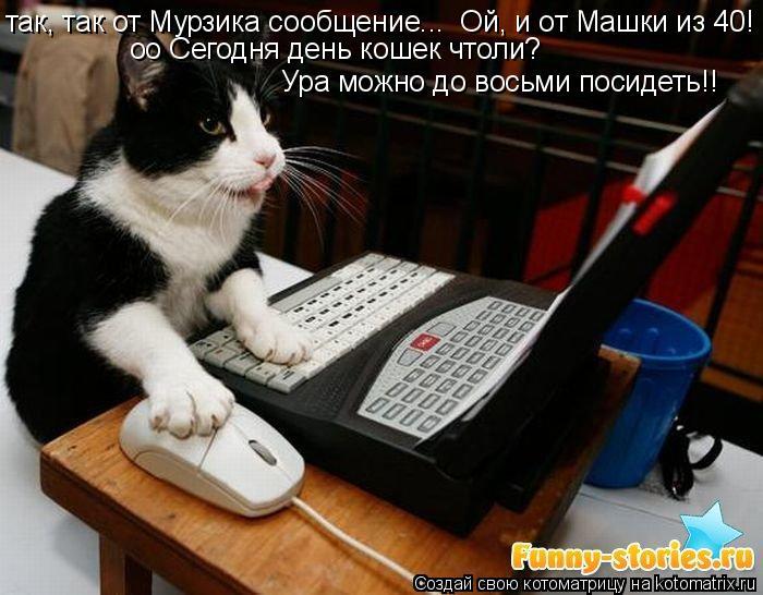 Котоматрица: так, так от Мурзика сообщение...  Ой, и от Машки из 40!  оо Сегодня день кошек чтоли?  Ура можно до восьми посидеть!!