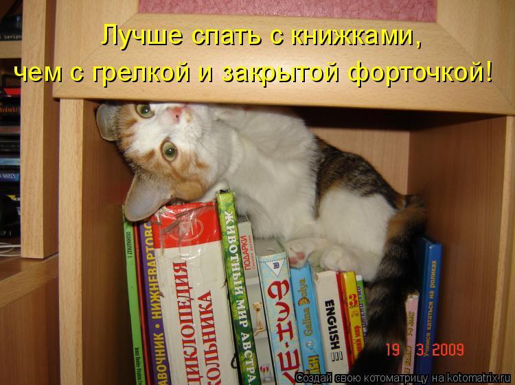 Котоматрица: Лучше спать с книжками,  чем с грелкой и закрытой форточкой!