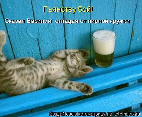 Котоматрица: Сказал Василий, отпадая от пивной кружки Пьянству бой!