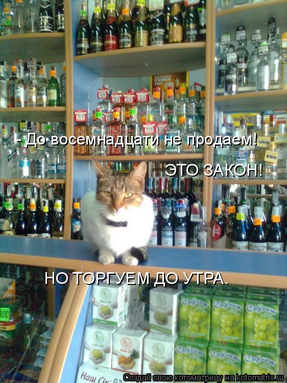 Котоматрица: - До восемнадцати не продаем! ЭТО ЗАКОН! НО ТОРГУЕМ ДО УТРА.