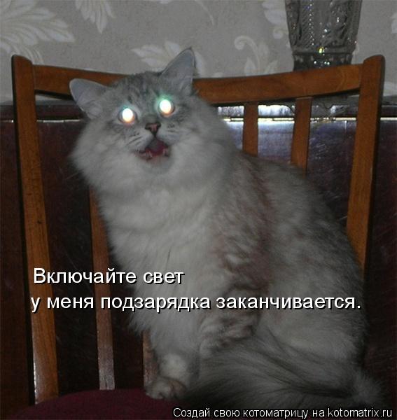 Котоматрица: Включайте свет у меня подзарядка заканчивается.