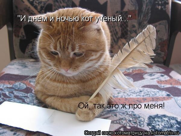 """Котоматрица: """"И днём и ночью кот ученый..."""" Ой, так это ж про меня!"""