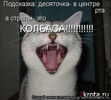 Котоматрица: Подсказка: десяточка- в центре рта а стрелы- это КОЛБАСА!!!!!!!!!!!