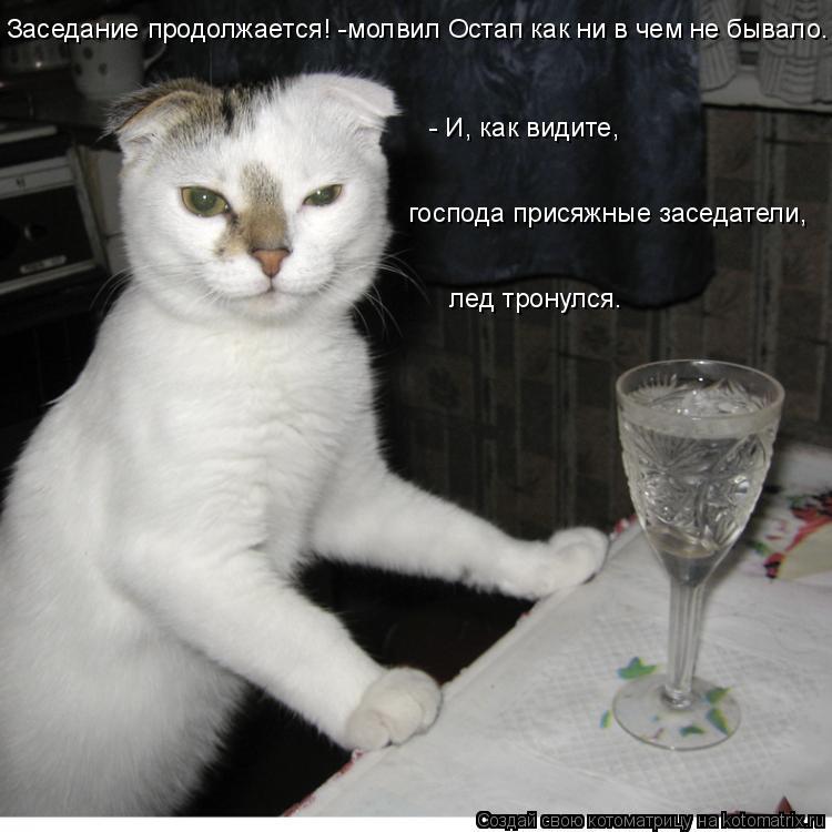 Котоматрица: Заседание продолжается! -молвил Остап как ни в чем не бывало. - И, как видите,   господа присяжные заседатели,   лед тронулся.