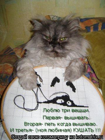 Котоматрица: Люблю три вещщи.  Первая- вышивать. Вторая- петь когда вышиваю.  И третья- (моя любимая) КУШАТЬ !!!