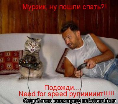 Котоматрица: Need for sрeed рулииииит!!!!! Подожди.... Мурзик, ну пошли спать?!
