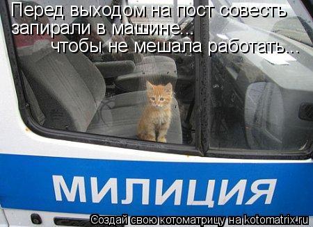 Котоматрица: Перед выходом на пост совесть запирали в машине... чтобы не мешала работать...