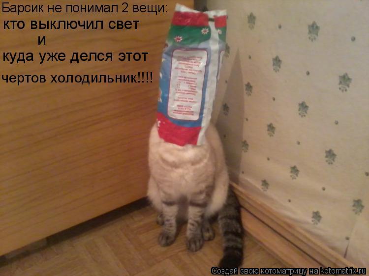 Котоматрица: Барсик не понимал 2 вещи: кто выключил свет и куда уже делся этот чертов холодильник!!!!