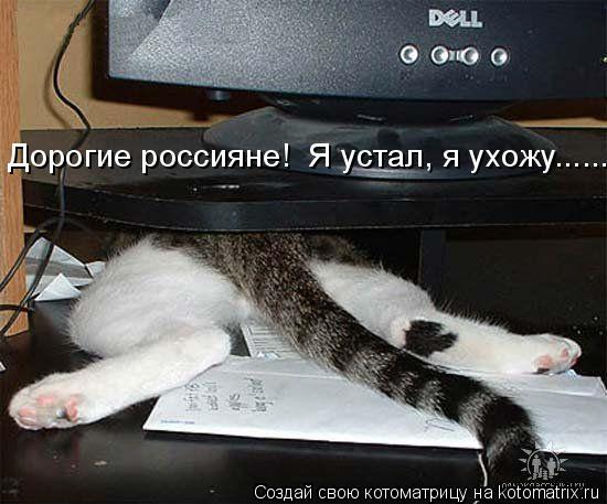Котоматрица: Дро Дорогие россияне!  Я устал, я ухожу......