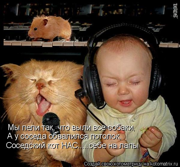 Котоматрица: Мы пели так, что выли все собаки, А у соседа обвалился потолок, Соседский кот НАС.....себе на лапы