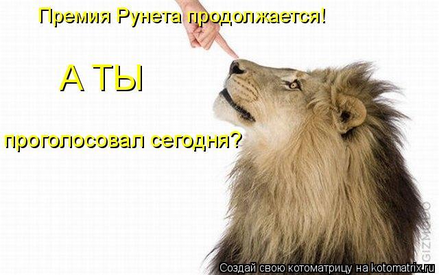 Котоматрица: Премия Рунета продолжается! А ТЫ проголосовал сегодня?