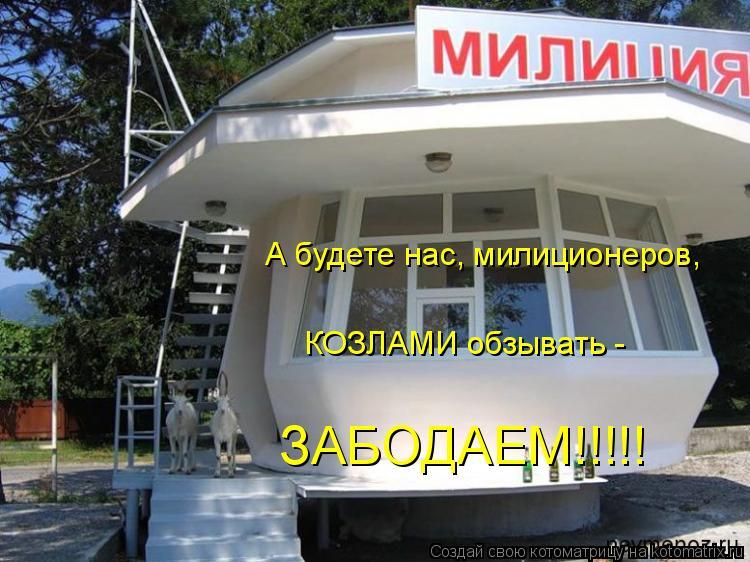 Котоматрица: А будете нас, милиционеров,  КОЗЛАМИ обзывать -  ЗАБОДАЕМ!!!!!