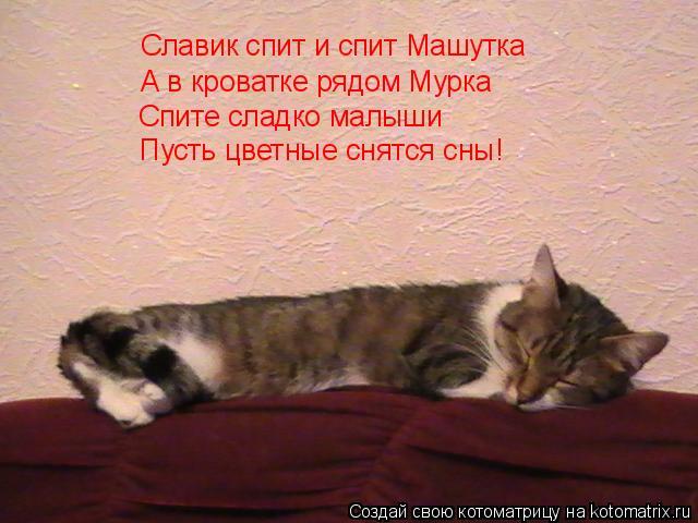 Котоматрица: Славик спит и спит Машутка А в кроватке рядом Мурка Спите сладко малыши Пусть цветные снятся сны!