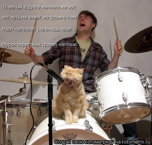 Котоматрица: Главный в дуэте конечно же кот, нот хоть не знает, но громче поет. Март напролет серенады орал Мурок окрестных сразил наповал