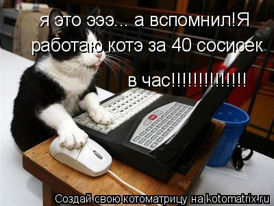 Котоматрица: я это эээ... а вспомнил!Я работаю котэ за 40 сосисек  в час!!!!!!!!!!!!!!