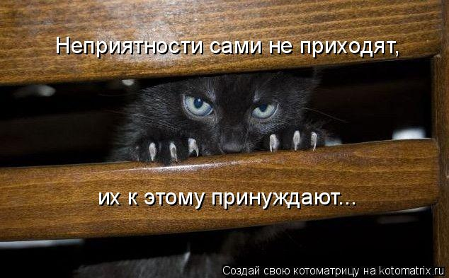 Неприятности сами не приходят, их к этому принуждают...