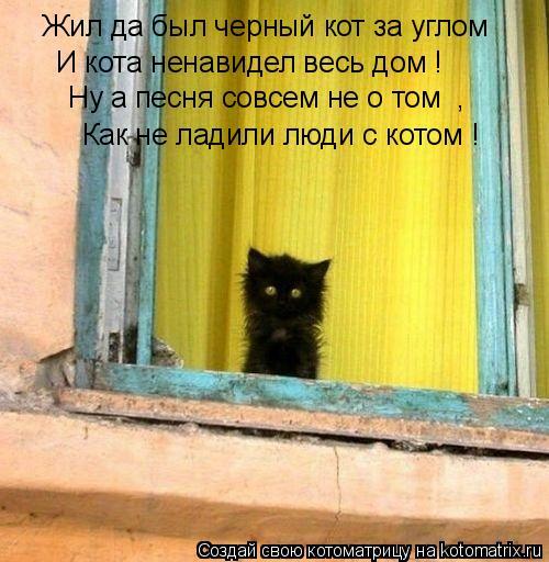 Котоматрица: Жил да был черный кот за углом  И кота ненавидел весь дом ! Ну а песня совсем не о том  , Как не ладили люди с котом !