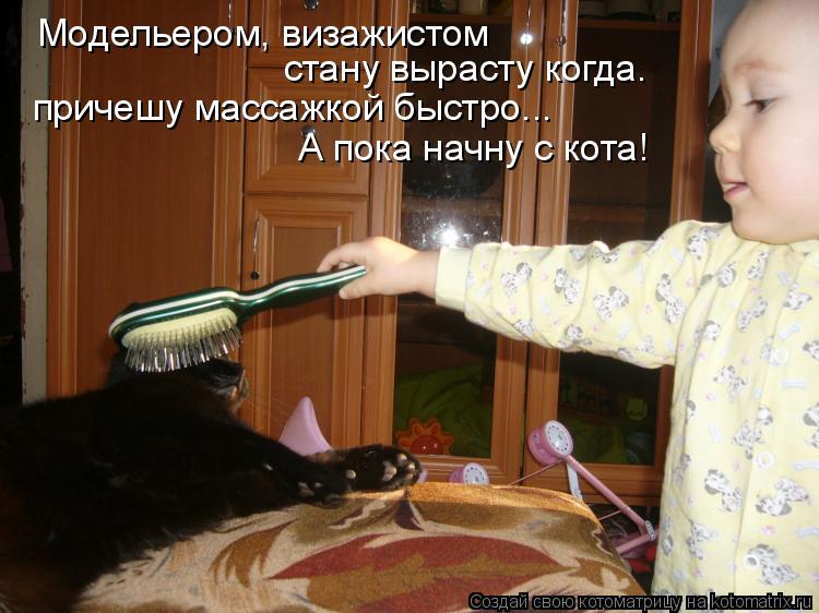 Котоматрица: Модельером, визажистом стану вырасту когда. причешу массажкой быстро... А пока начну с кота!