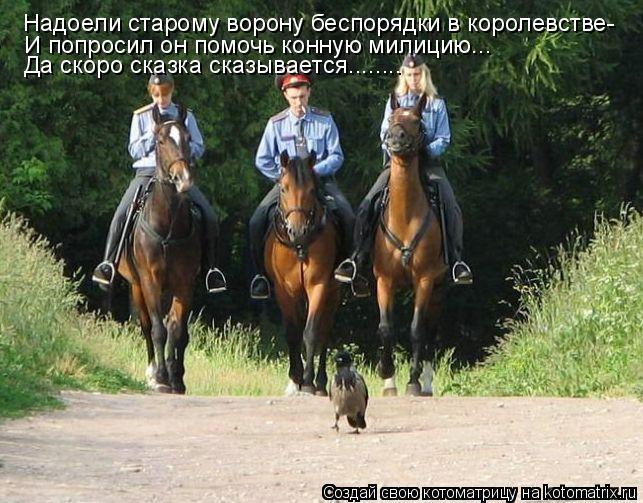 Котоматрица: Надоели старому ворону беспорядки в королевстве- Да скоро сказка сказывается........ И попросил он помочь конную милицию...