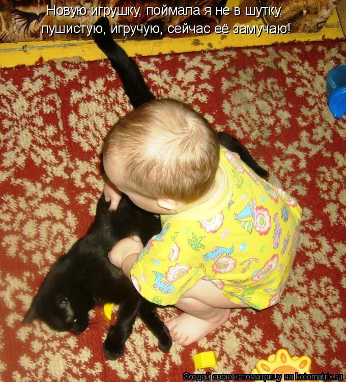 Котоматрица: Новую игрушку, поймала я не в шутку, пушистую, игручую, сейчас её замучаю!