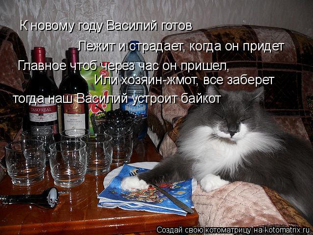 Котоматрица: К новому году Василий готов Лежит и страдает, когда он придет Главное чтоб через час он пришел, Или хозяин-жмот, все заберет тогда наш Васили