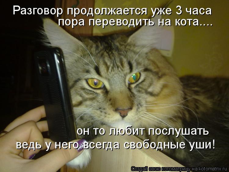 Котоматрица: Разговор продолжается уже 3 часа пора переводить на кота.... он то любит послушать ведь у него всегда свободные уши!