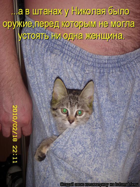 Котоматрица: оружие,перед которым не могла  ...а в штанах у Николая было устоять ни одна женщина.
