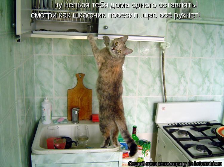 Котоматрица: ну нельзя тебя дома одного оставлять! смотри как шкафчик повесил..щас всё рухнет!