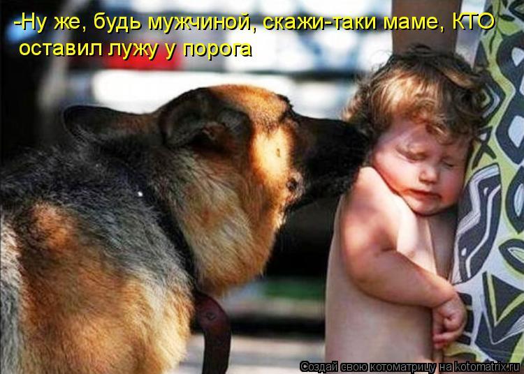 -Ну же, будь мужчиной, скажи-таки маме, КТО оставил лужу у порога