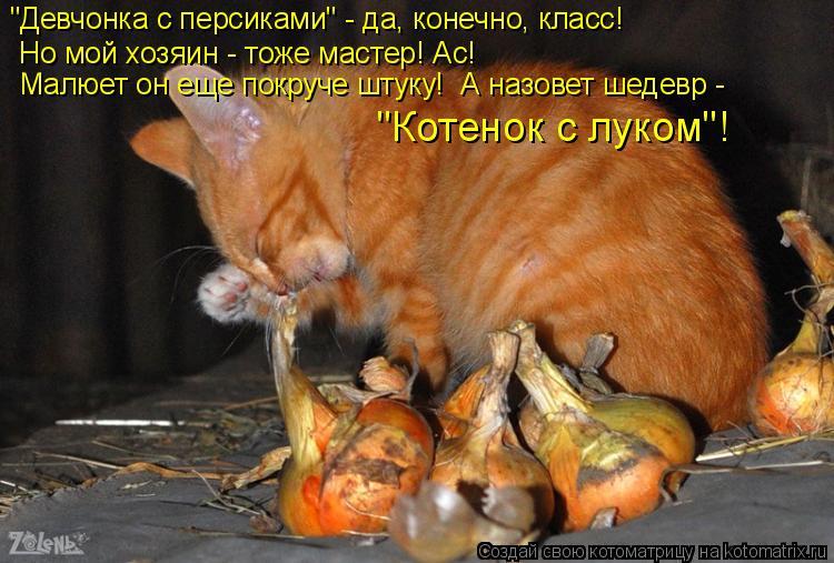 """Котоматрица: """"Девчонка с персиками"""" - да, конечно, класс!  Но мой хозяин - тоже мастер! Ас! Малюет он еще покруче штуку!  А назовет шедевр - """"Котенок с луком""""!"""