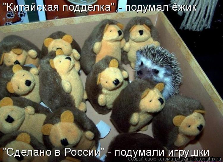 """Котоматрица: """"Китайская подделка"""",- подумал ёжик """"Сделано в России"""",- подумали игрушки"""