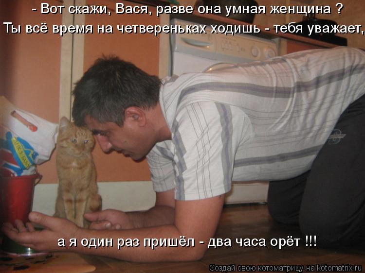Котоматрица: - Вот скажи, Вася, разве она умная женщина ? Ты всё время на четвереньках ходишь - тебя уважает, а я один раз пришёл - два часа орёт !!!