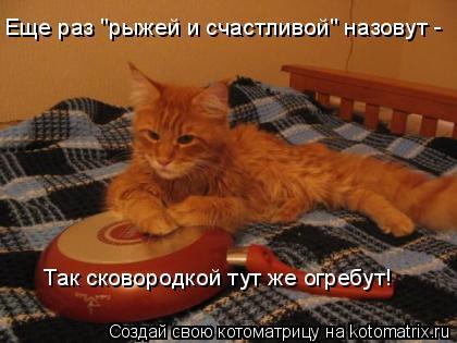 """Котоматрица: Еще раз """"рыжей и счастливой"""" назовут -  Так сковородкой тут же огребут!"""