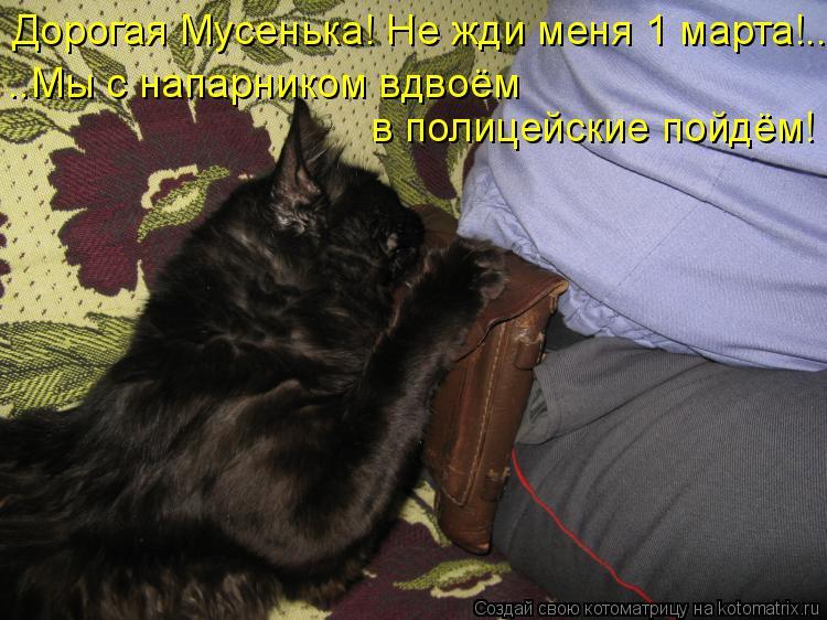 Котоматрица: Дорогая Мусенька! Не жди меня 1 марта!.. ..Мы с напарником вдвоём в полицейские пойдём!