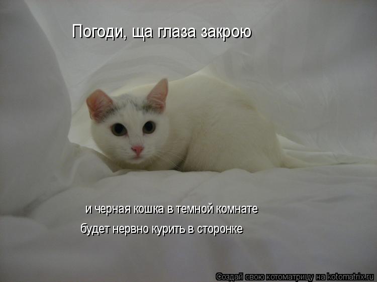 Погоди, ща глаза закрою и черная кошка в темной комнате будет нервно к
