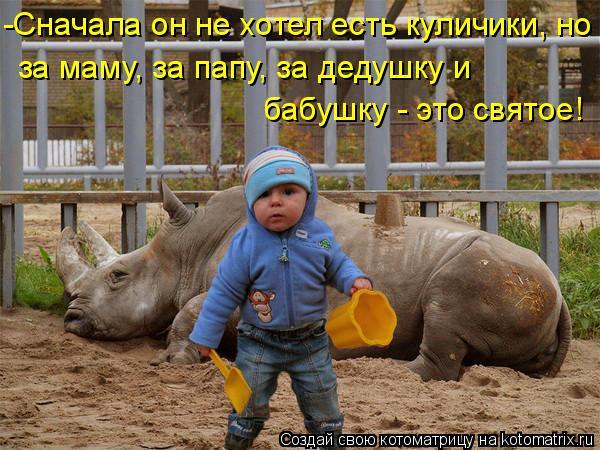 Котоматрица: -Сначала он не хотел есть куличики, но за маму, за папу, за дедушку и бабушку - это святое!